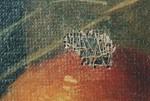 Leinwanddurchstoßung mit einem auf der Rückseite des Gemäldes aufgebrachten Klebeband